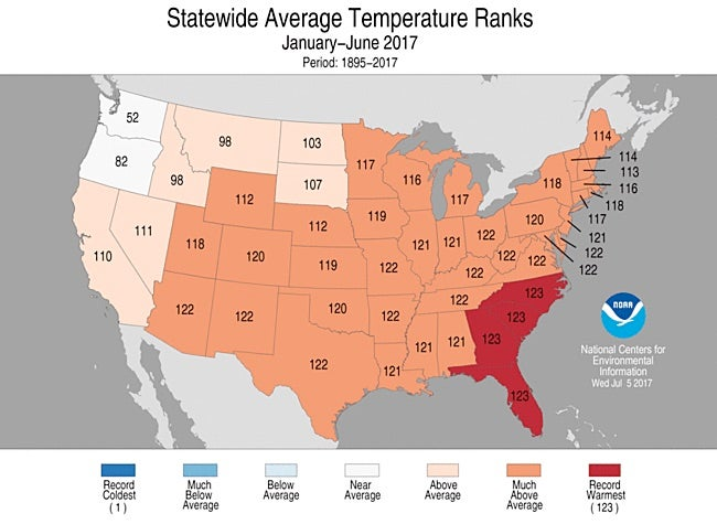 State-by-state temperature rankings for Jan-Jun 2017