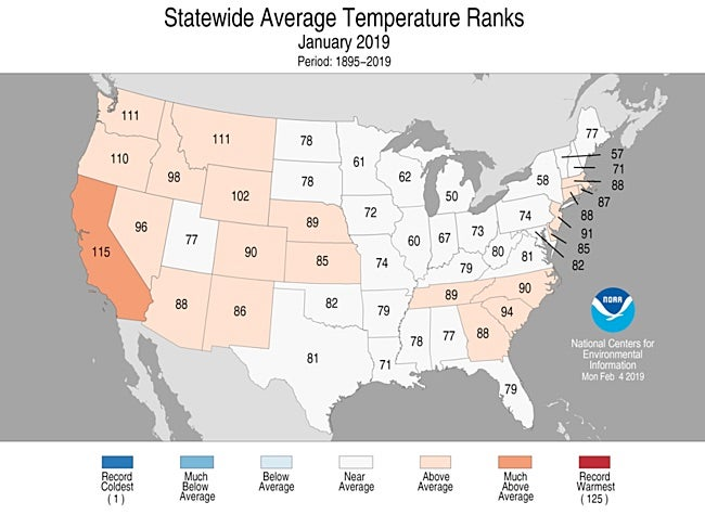 Statewide rankings for average temperature for January 2019, as compared to each January since records began in 1895