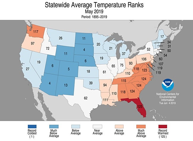 Statewide rankings for average temperature for May 2019, as compared to each May since records began in 1895
