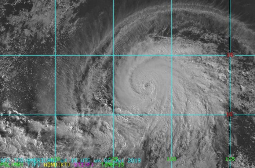 Visible image of Hurricane Barbara at 1500Z 7/2/19