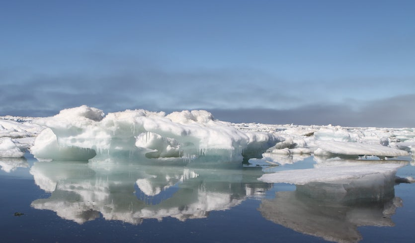 Sea ice melts in July 2016 off the beach of Utqiaġvik (Barrow), Alaska