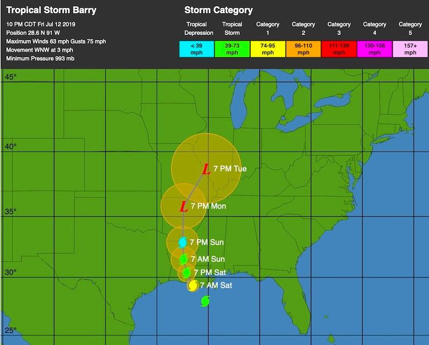 WU depiction of TS Barry forecast, 3Z 7/13/19