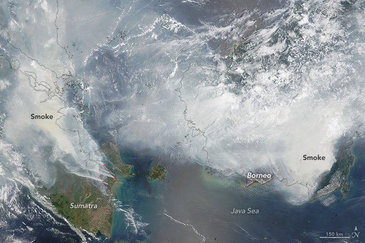 Smoke from Indonesia firest, 9/24/2015