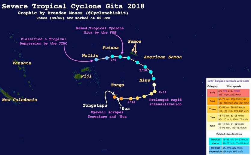 Track of Cyclone Gita, Feb 2018
