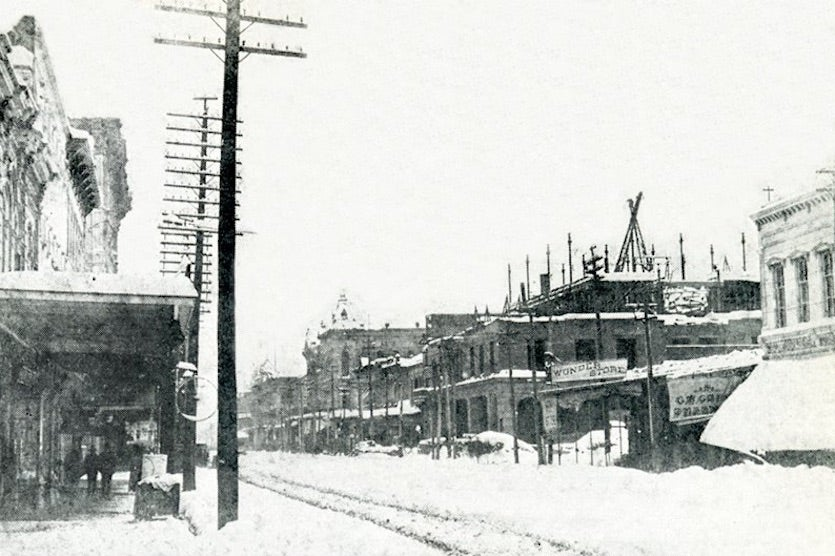 "Houston's Main Street buried under 20"" of snow on February 14, 1895"