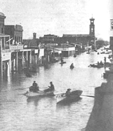 Downtown Sacramento at the height of the flood in January 1862.