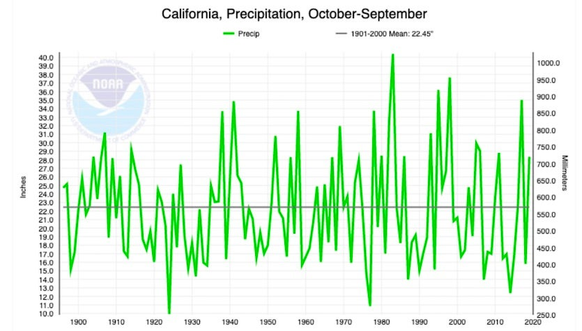 nia statewide precipitation for water years (October-September) from 1895 to 2019