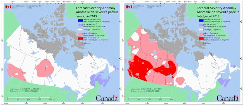 Fire weather severity anomaly predicted by the Canadian Government on June 1, 2019, for June (left) and July (right) by Environment Canada