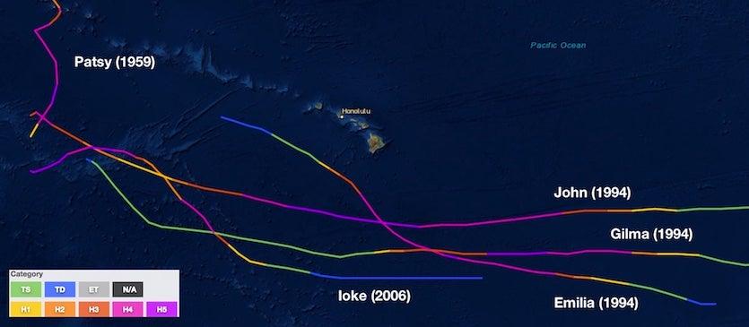 Category 5 tracks near Hawaii