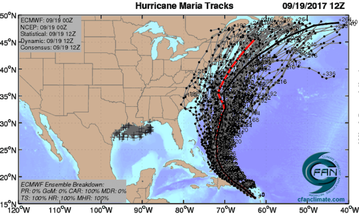 ECMWF ensemble tracks for Maria, 0Z 9/19/2017