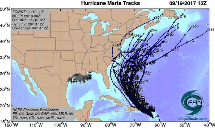 GFS ensemble tracks for Maria, 0Z 9/19/2017