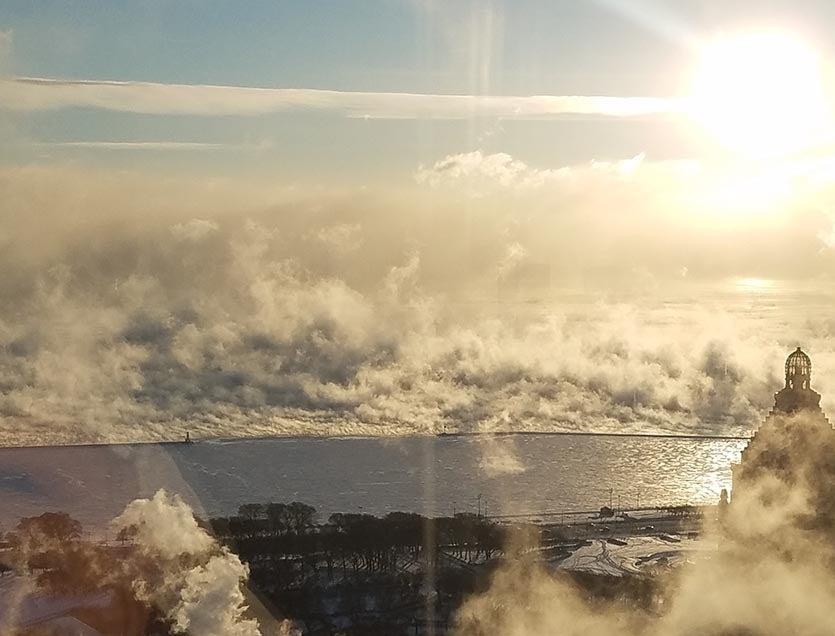 Sunrise on Lake Michigan on a cold day