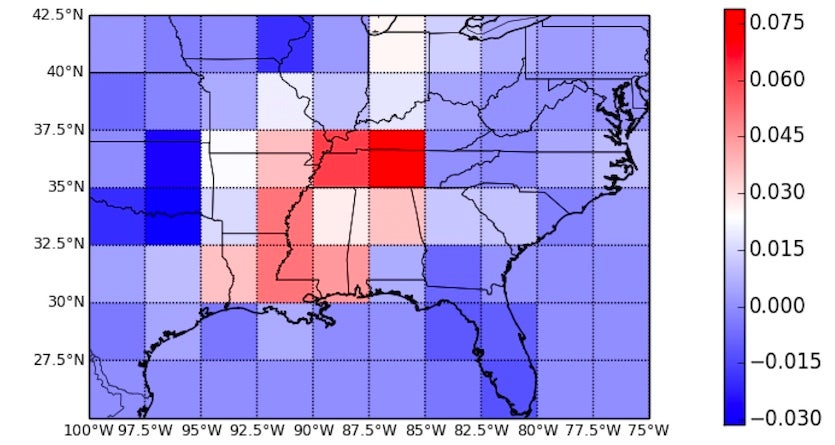 Regression coefficient for the number of tornadoes observed in each box from 1953 through 2015 during the months from November through February (NDJF)
