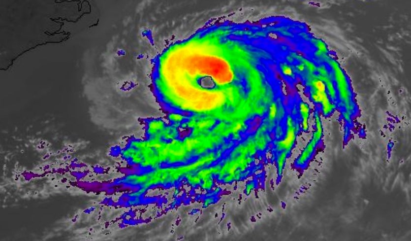 Infrared satellite image of TS Chris, 2022Z 7/10/2018