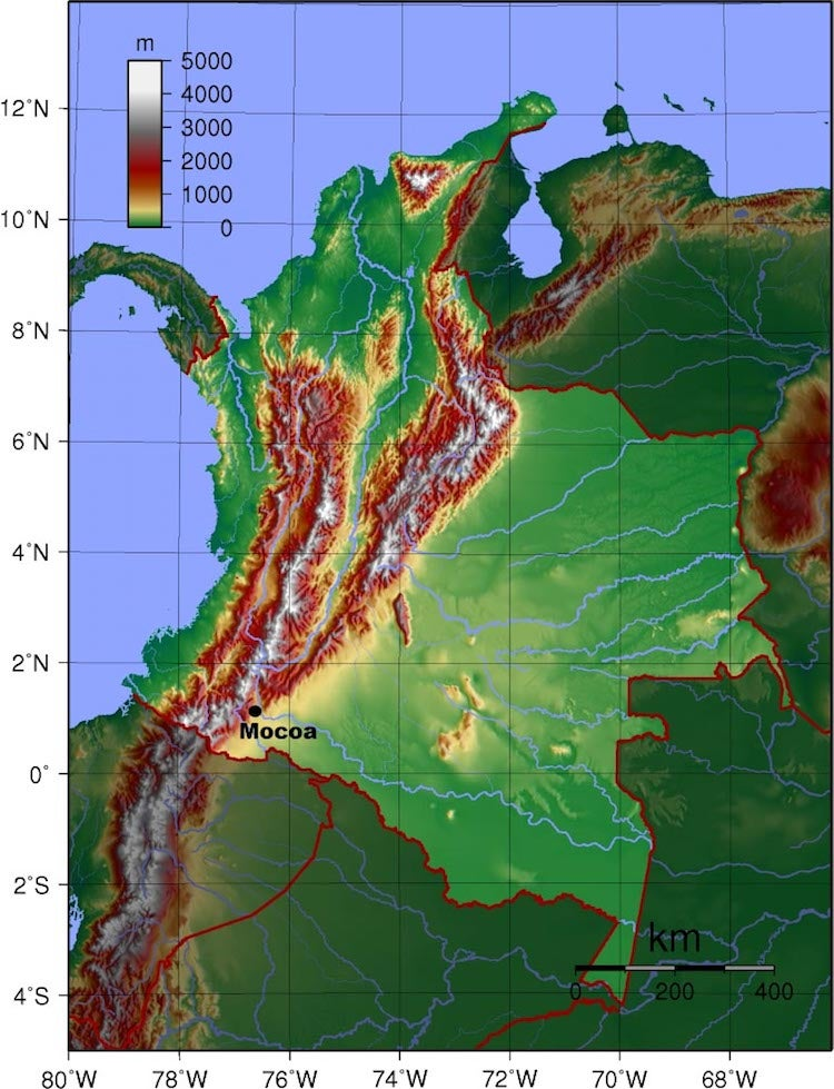 Topographic map of Colombia