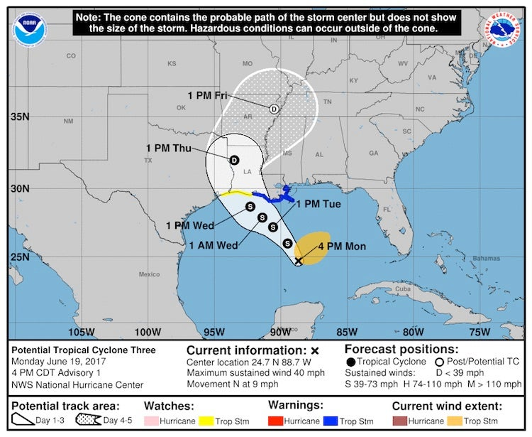 NHC forecast track for PTC 3 as of 2100Z 6/19/2017