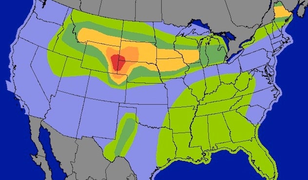 Weather Map Of Wyoming.Strong Tornadoes Possible Monday In Parts Of Wyoming Nebraska By