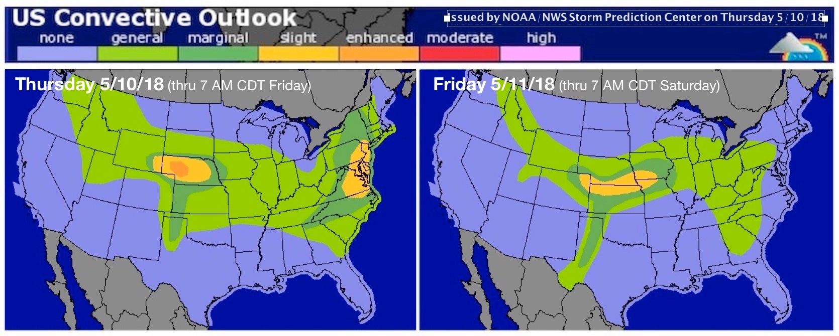 Day 1 and 2 severe outlooks for May 10-11, 2018