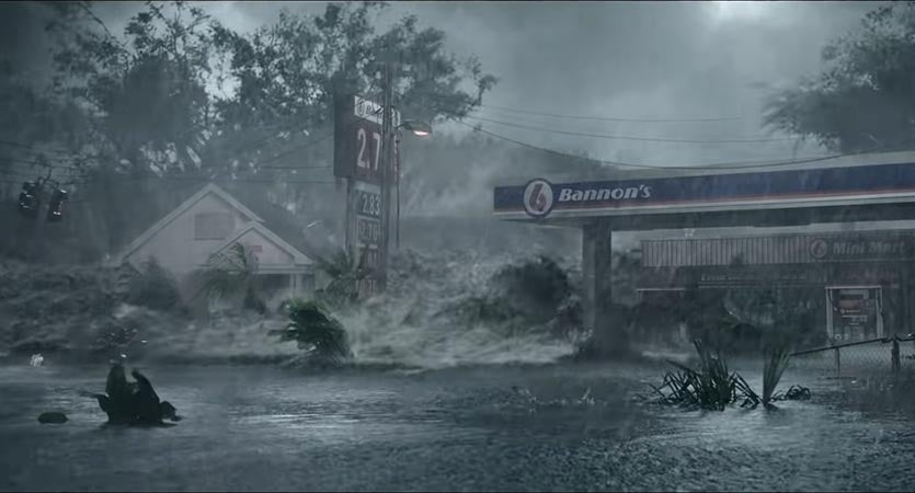 Storm surge in the movie, Crawl