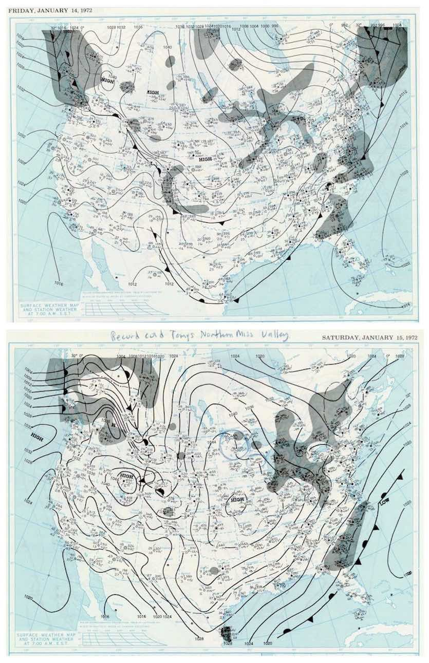 Daily weather maps for January 14 and January 15, 1972