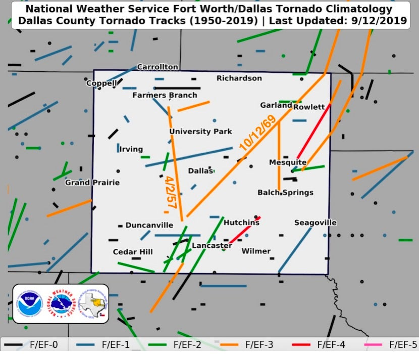 Tornado paths reported in Dallas County, Texas, from 1880 through Sept. 12, 2019