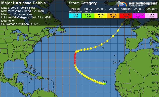 WU tracking map for Hurricane Debbie (1961).