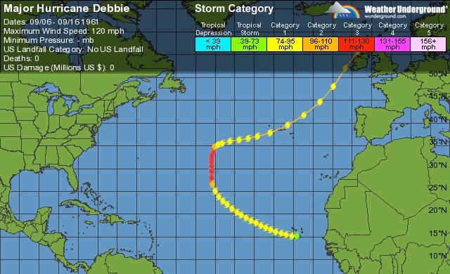 WU tracking map for Hurricane Debbie (1961).