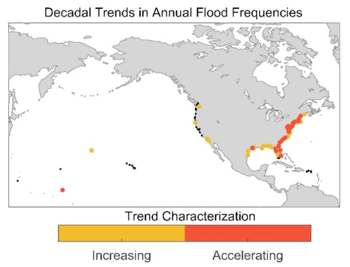 Change in decadal annual high tide flood frequencies at 99 U.S. tide gauge locations outside Alaska with at least 20 years of data, through 2016.
