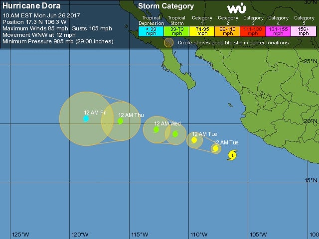WU tracking map for Hurricane Dora, 15Z 6/26/17