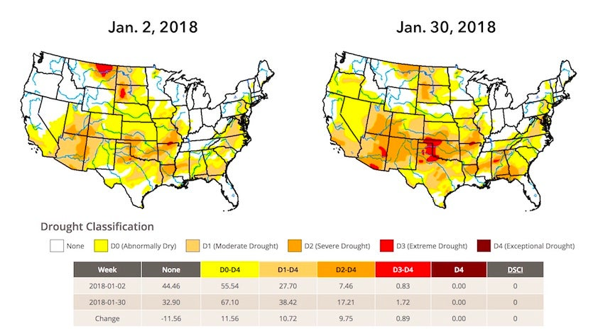 U.S. Drought Monitor valid on Jan. 2, 2018 (left) and Jan. 30 (right).