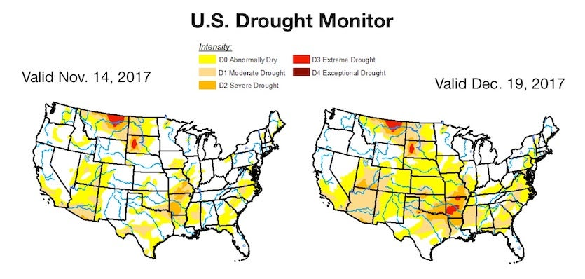 The U.S. Drought Monitor showed a dramatic expansion of abnormally dry areas (yellow) from Nov. 14 to Dec. 19, 2017