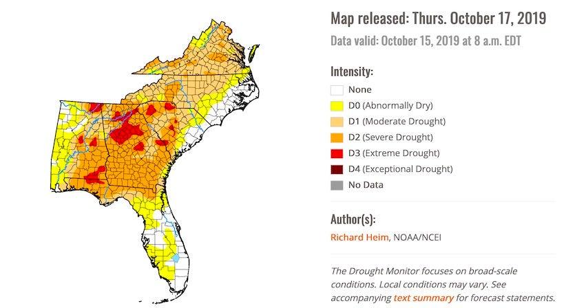 U.S. Drought Monitor for Southeast U.S. valid 10/15/19
