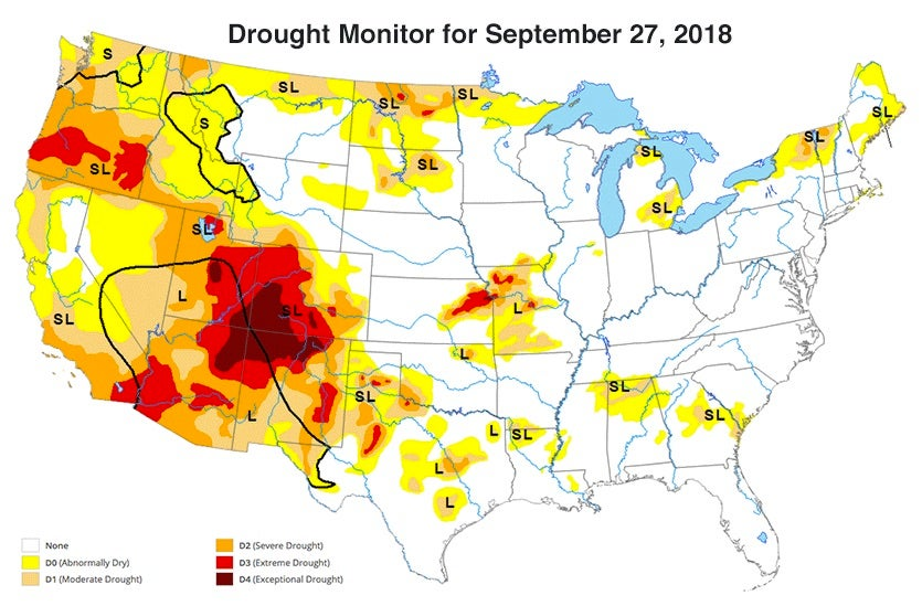 U.S. drought conditions as of September 27, 2018