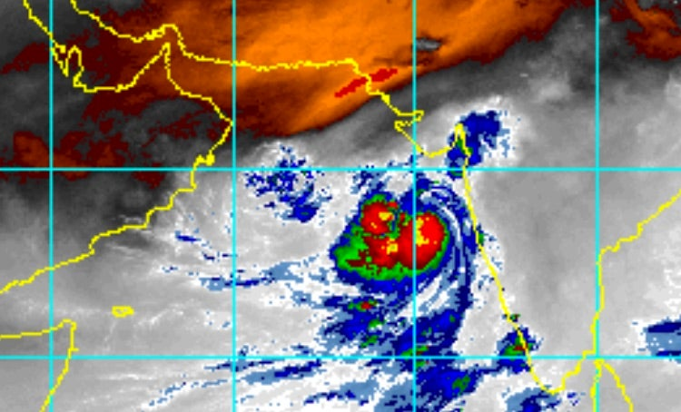 Enhanced infrared image of Tropical Cyclone Vayu west of India as of 1815Z (2:15 pm EDT) Tuesday, June 11, 2019