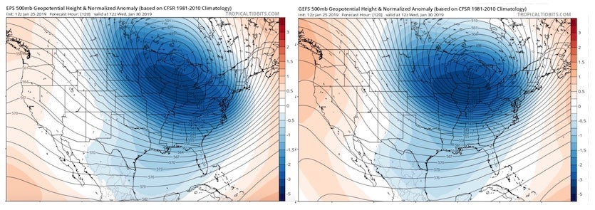 Ensemble forecasts from the European model (left) and GFS model (right), issued 12Z Friday and valid at 6:00 am CST Wednesday, January 30, 2019