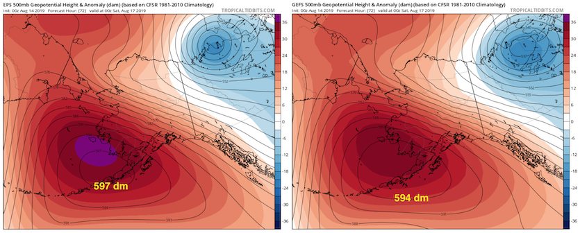 500 mb heights in Alaska from EPS and GEFS runs on 0Z 8/14/19, valid 0Z 8/17/19