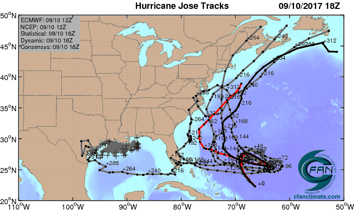 ECMWF ensemble forecasts for Jose, 12Z 9/10/2017
