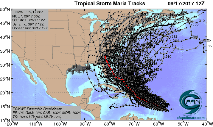 Track forecasts for Maria from the 0Z Sunday, September 17, 2017 European model ensemble forecast.
