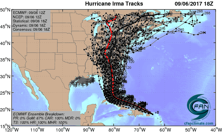 Hurricane Irma An Extreme Storm Surge Threat To The US And - Hurricane danger map of the us