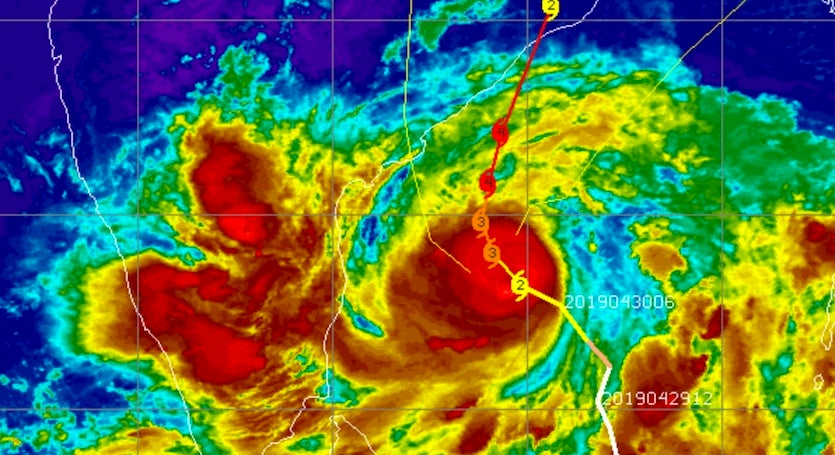 Infrared image of Cyclone Fani as of 1600Z (noon EDT) Tuesday, April 30, 2019, overlaid on the observed and predicted track and Saffir-Simpson ratings of the storm