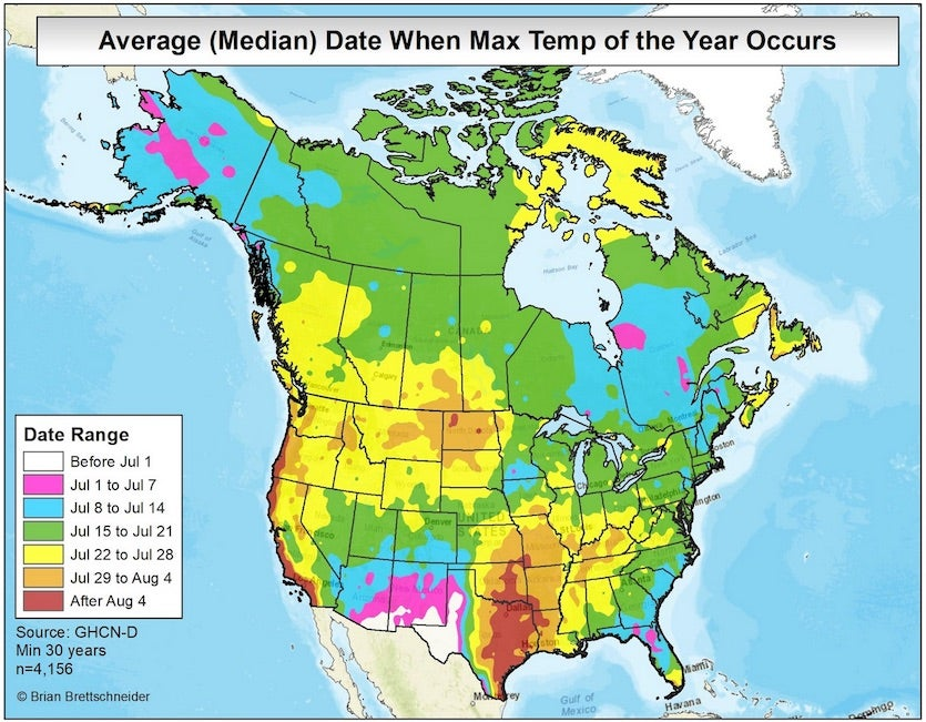 Map of warmest time of year for U.S./Canada
