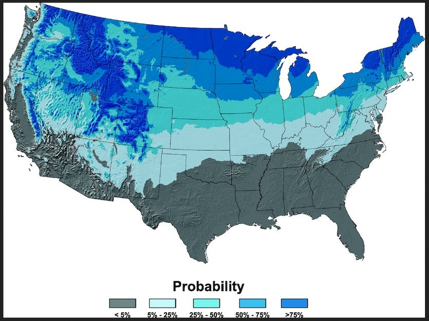 "Probability of 1"" or more of snow on the ground on Christmas Day"