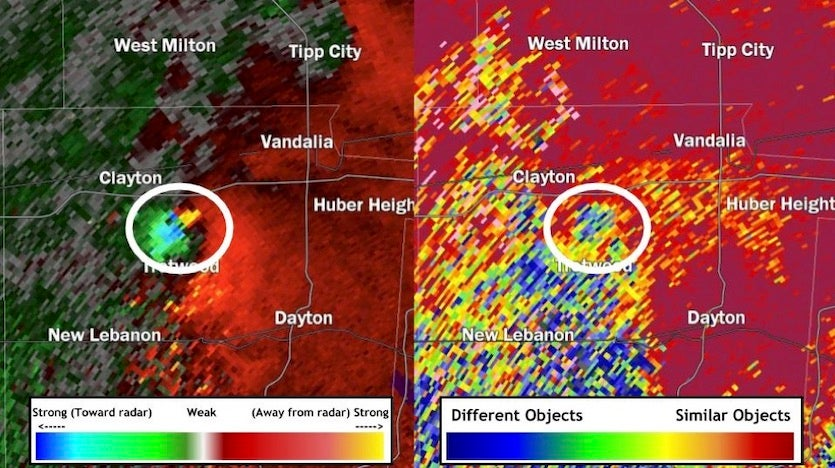 The EF4 tornado that struck the Dayton, Ohio, area on May 27, 2019, was detected in NWS Doppler radar by velocity (wind speeds, on left) and correlation coefficient (sameness of objects, on right) at 10:51 PM EDT