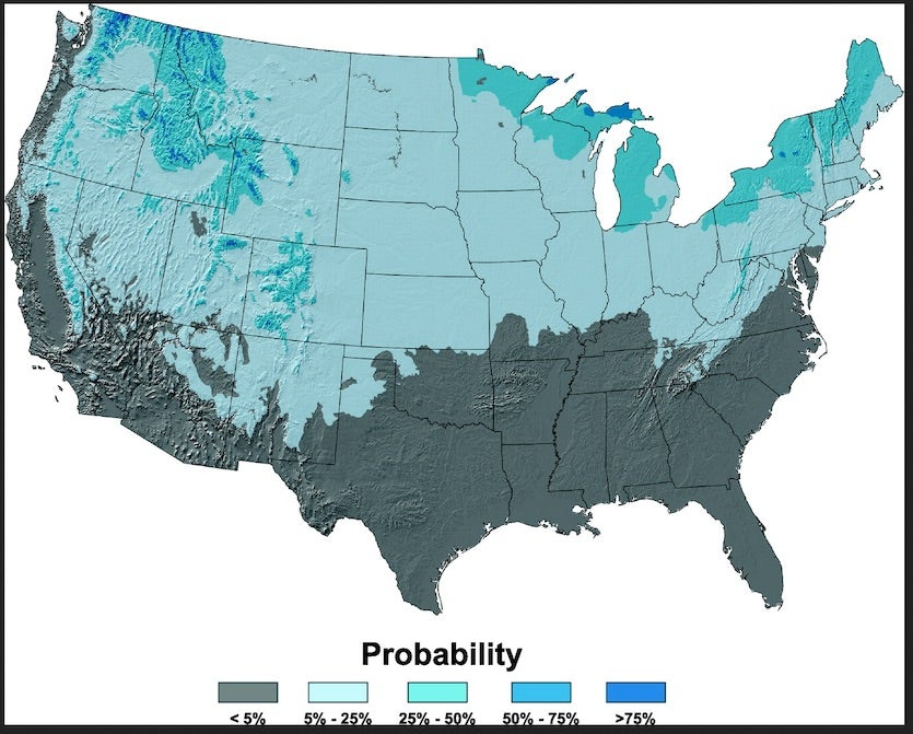 "Probability of a measurable snowfall (0.1"") occurring on Christmas Day"