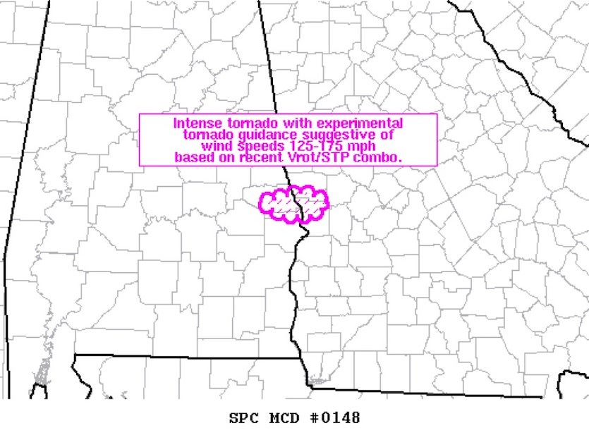 A mesoscale discussion released at 2:19 PM CST estimating wind speeds of the Beauregard, AL, tornado of March 3, 2019