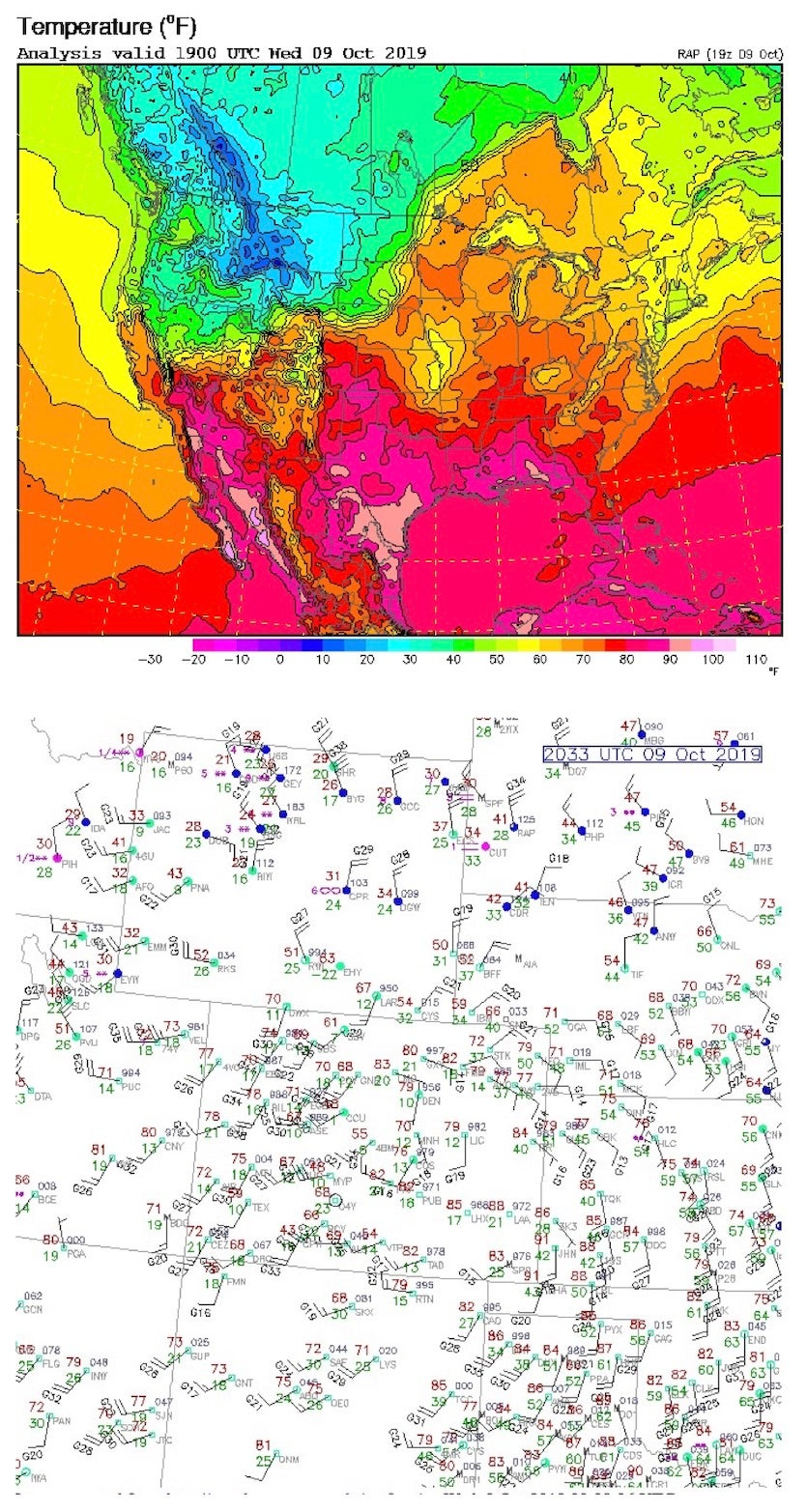 Temperature countour map of the U.S. at 1900 UTC (1 p.m. MDT) on October 9 (top) and actual surface observations about an hour later (bottom).