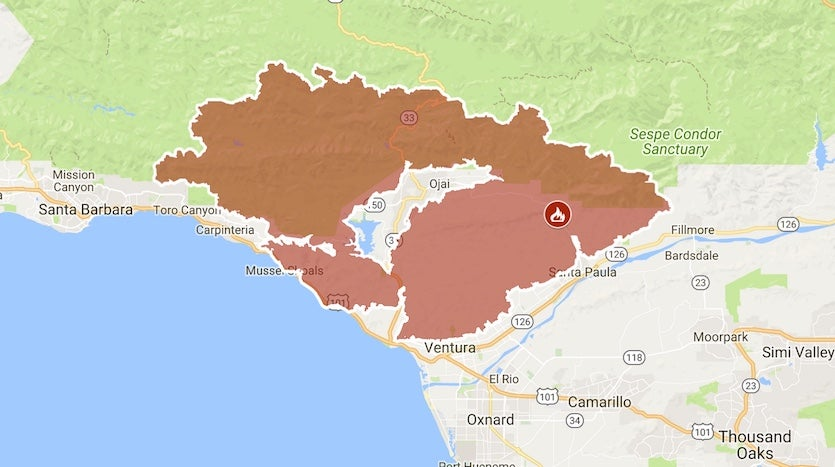Perimeter of the Thomas Fire as of late Wednesday, December 13, 2017
