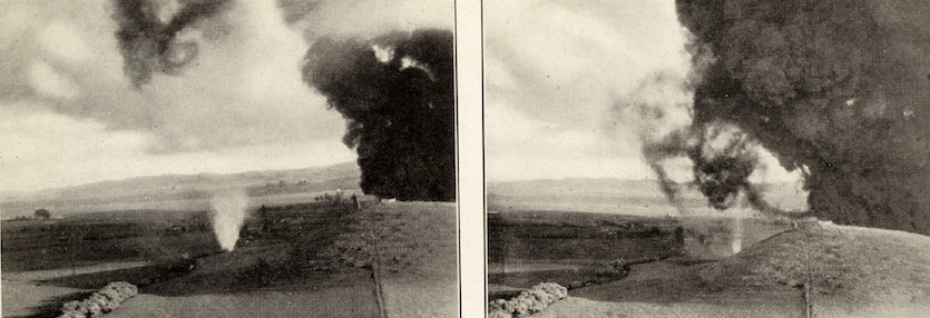 Two photos of fire whirls that developed during the oil fire of April 7-11, 1926