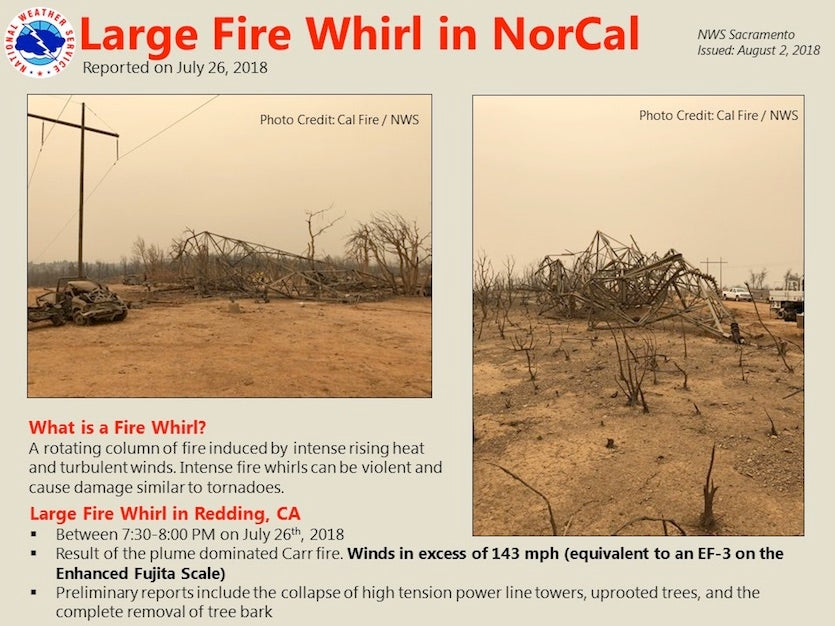 Summary of the preliminary survey of the Carr Fire vortex