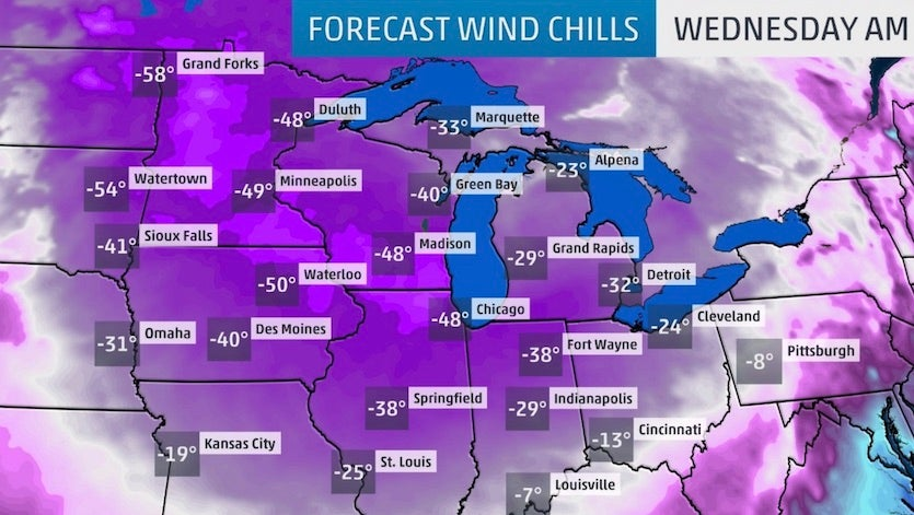 Wind chills predicted by The Weather Channel for Wednesday morning, January 30, 2018, as of Tuesday morning